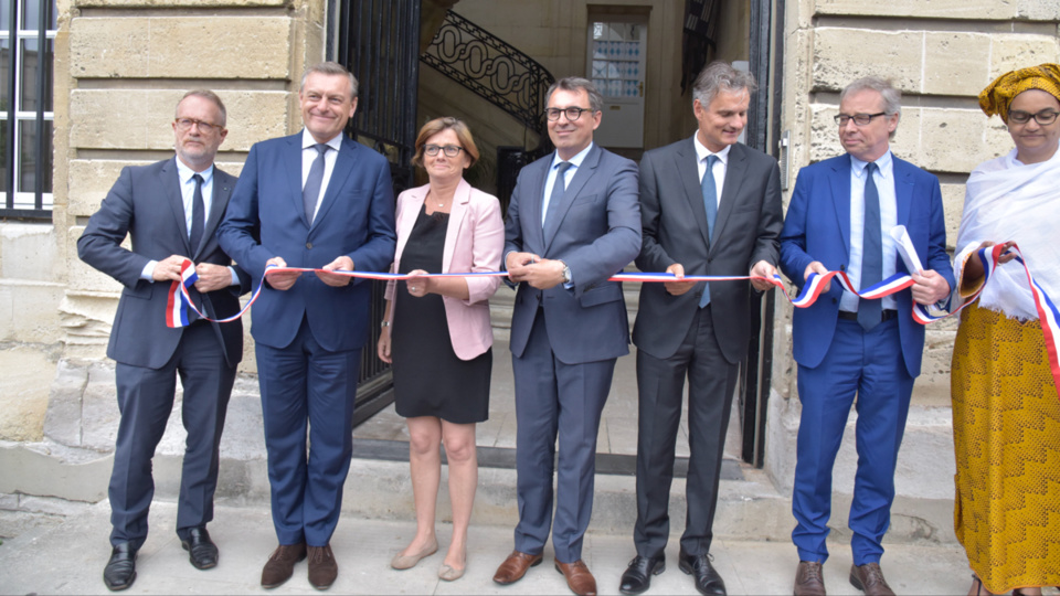 Lors de l'inauguration aujourd'hui vendredi en présence du maire du Havre, Luc Lemonnier (© Laurent Breard – Ville du Havre)