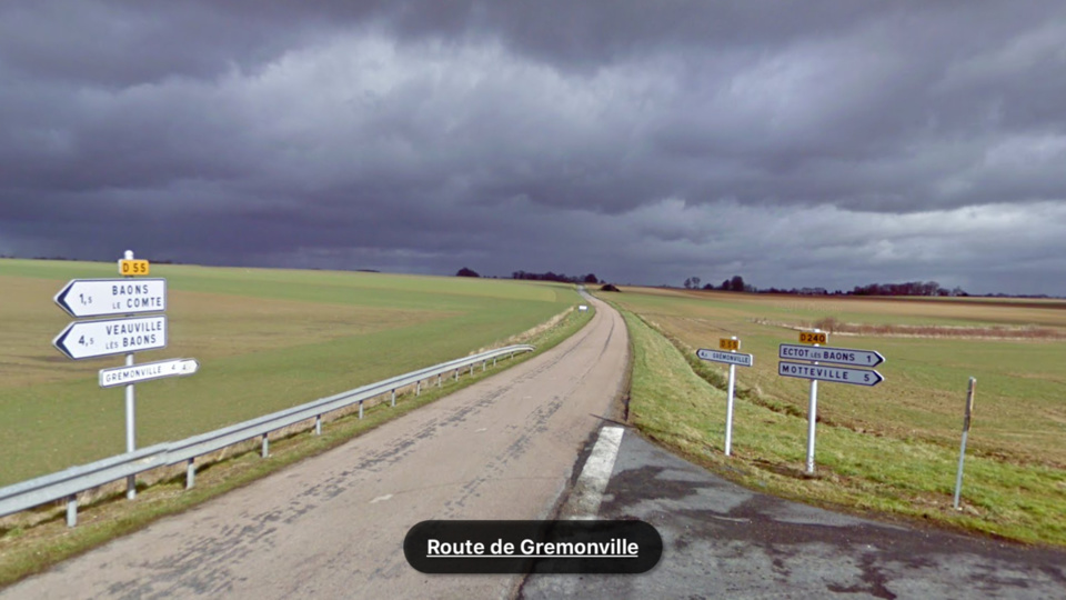 L'accident s'est produit route de Grémonville peu avant 16h40 (illustration @Google Maps)