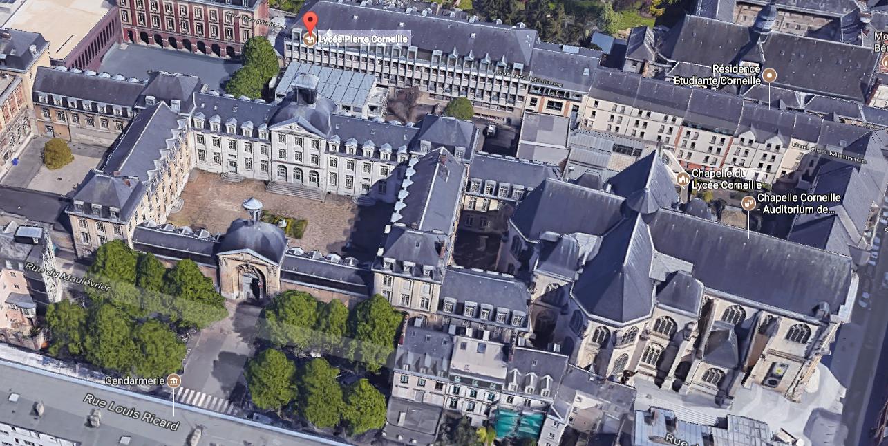 Pour la première fois des visites commentées du lycée Corneille à Rouen sont proposées à l'occasion de ces Journées du Patrimoine (Illustration © Google Street View)