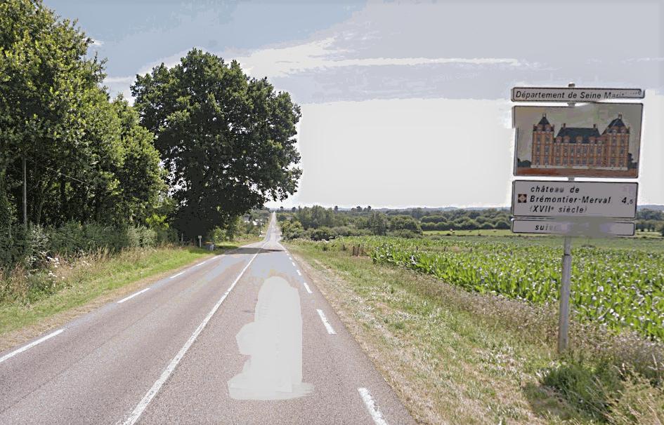 Le corps de la victime a été découvert en bordure de cette route à deux voies à la frontière entre Brémontier-Merval et Dampierre-en-Bray (Illustration)
