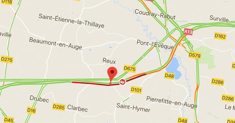 Carambolage sur l'A13 dans le Calvados : l'autoroute est coupée vers Paris. Au moins 8 blessés