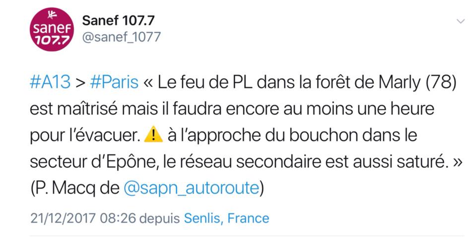 Poids-lourd en feu sur l'A13 à Poissy (Yvelines) : 7 km de bouchon vers Paris