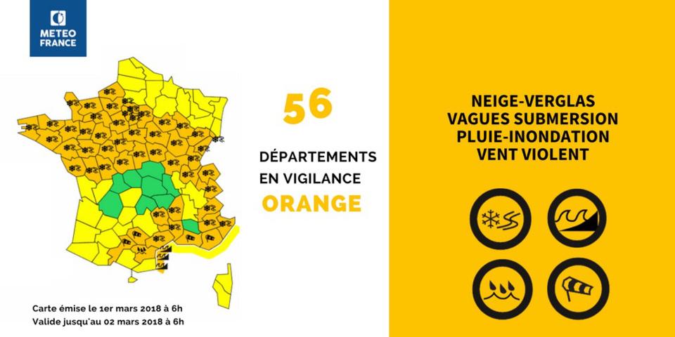 La Seine-Maritime et l'Eure en vigilance orange : neige, verglas et rafales de vent sont attendus