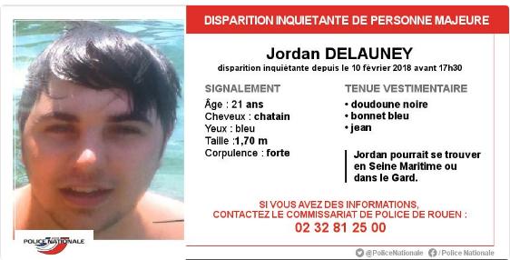 Rouen : le corps de Jordan Delauney retrouvé sans vie plus d'un mois après sa disparition