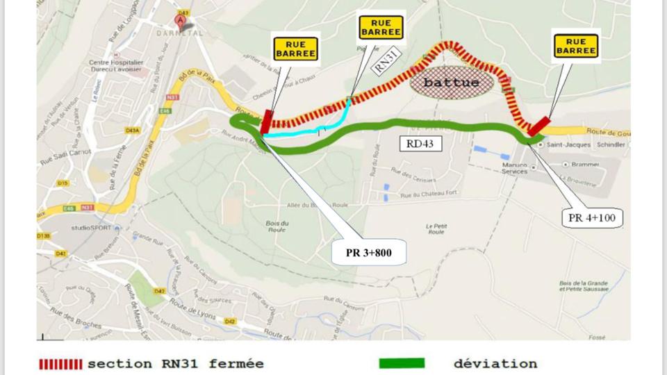 La RN 31 est fermée à la circulation dans les deux sens