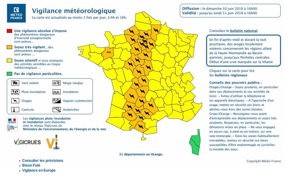 L'Eure et la Seine-Maritime placés en vigilance orange pour risques d'orages jusqu'à demain lundi
