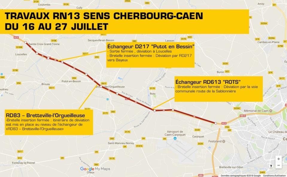 Remise en état de la chaussée sur la RN 13 dans le Calvados : ce qu'il faut savoir des perturbations