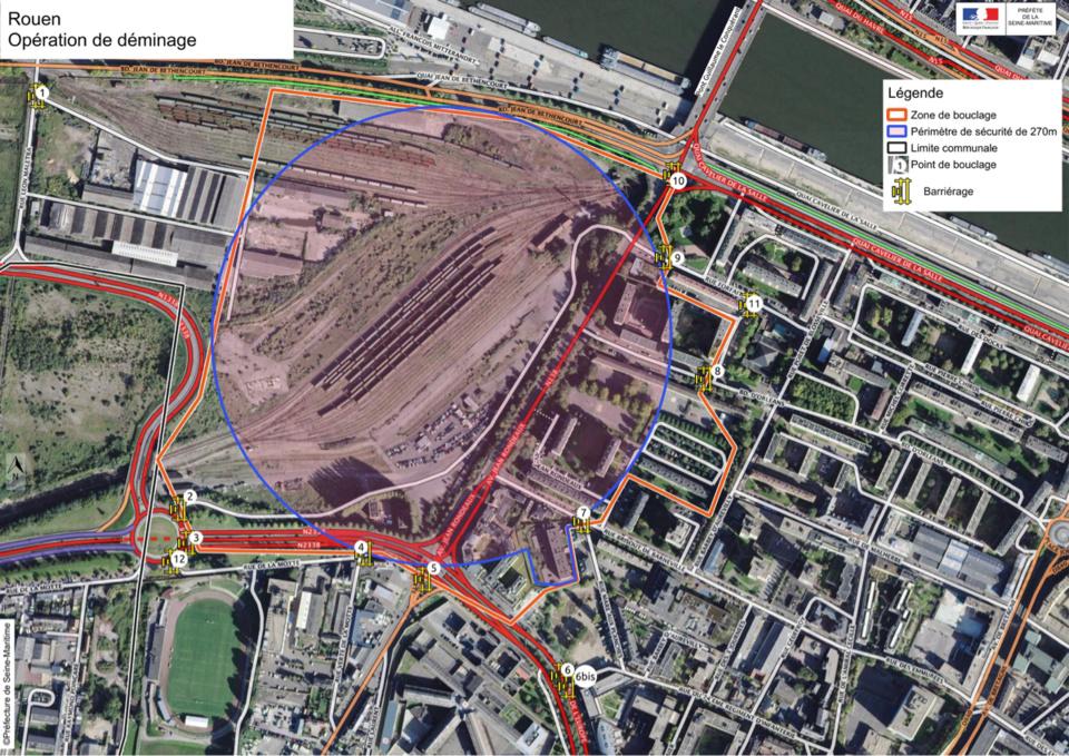 Un périmètre de sécurité de 270 mètres autour de l'engin explosif sera mis en place. Il englobe quelque 600 logements - Document © Préfecture de Seine-Maritime (cliquer sur le plan pour l'agrandir)