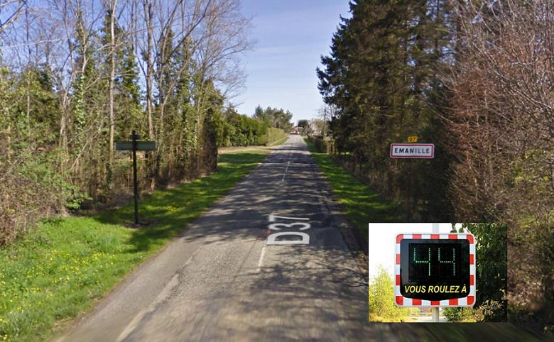 Des radars pédagogiques seront installés aux extrémités de la rue Saint-Etienne, aux entrées d' Emanville - Illustration © Google Maps