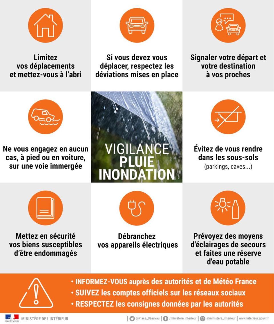 La Seine-Maritime, l'Eure, le Calvados et l'Orne sont en vigilance orange « pluie-inondation »