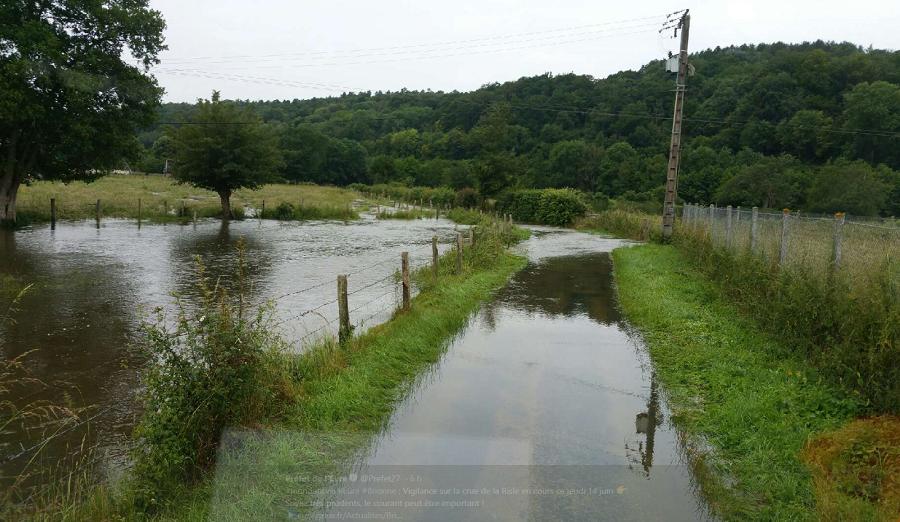 Dans l'Eure, plusieurs rivières en crue ont débordé - Illustration