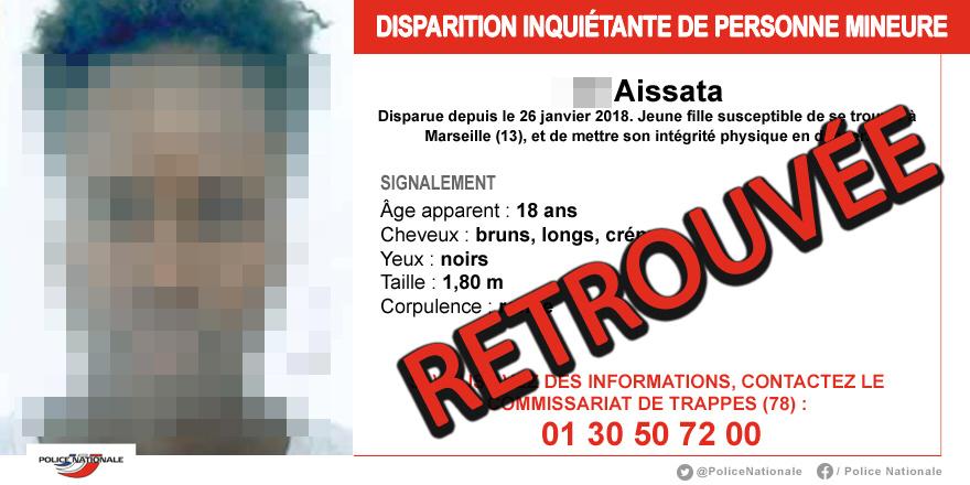 Aissata a été retrouvée dans les Yvelines : la jeune fille était disparue depuis bientôt dix mois