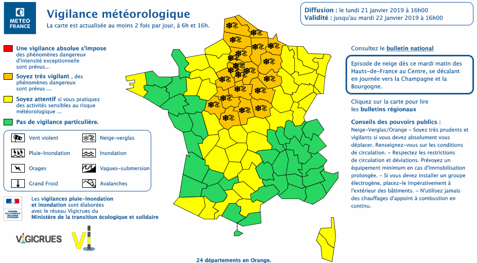 24 départements sont en vigilance orange  - Document © Météo France