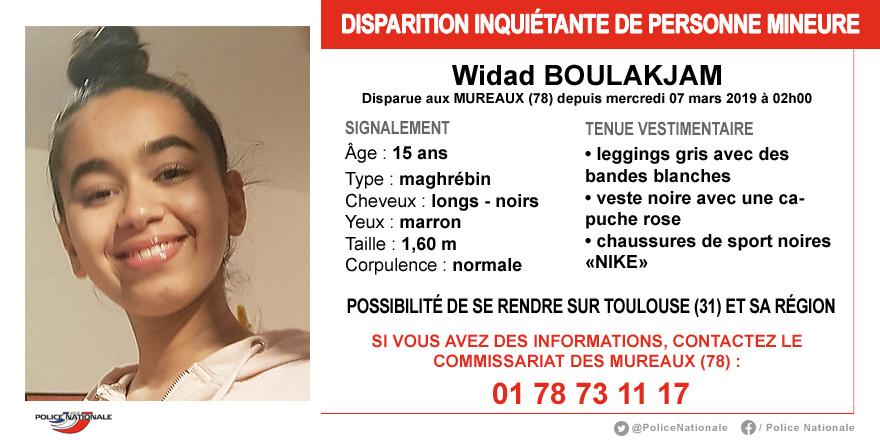 Disparition inquiétante de Widad, 15 ans : la police des Mureaux (Yvelines) lance un appel à témoins
