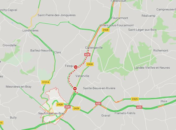 Un poids lourd couché sur l'autoroute A28 : la circulation est coupée en direction d'Abbeville