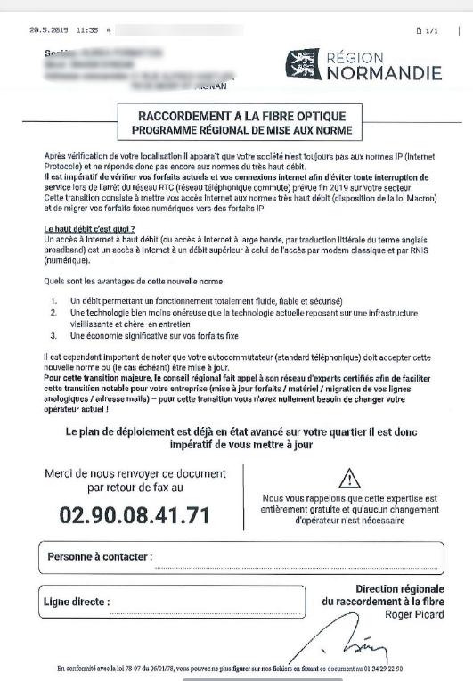 Fibre optique : la Région Normandie victime d'une tentative d'escroquerie ?