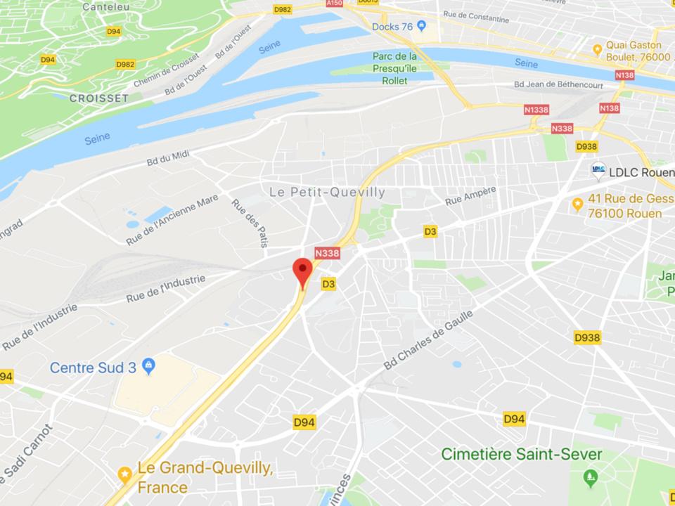 Trois jeunes gens blessés dans un accident sur la Sud III à Petit-Quevilly, près de Rouen