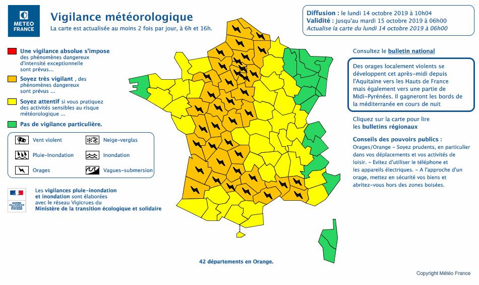 42 départements ont été placés en vigilance orange par Météo France