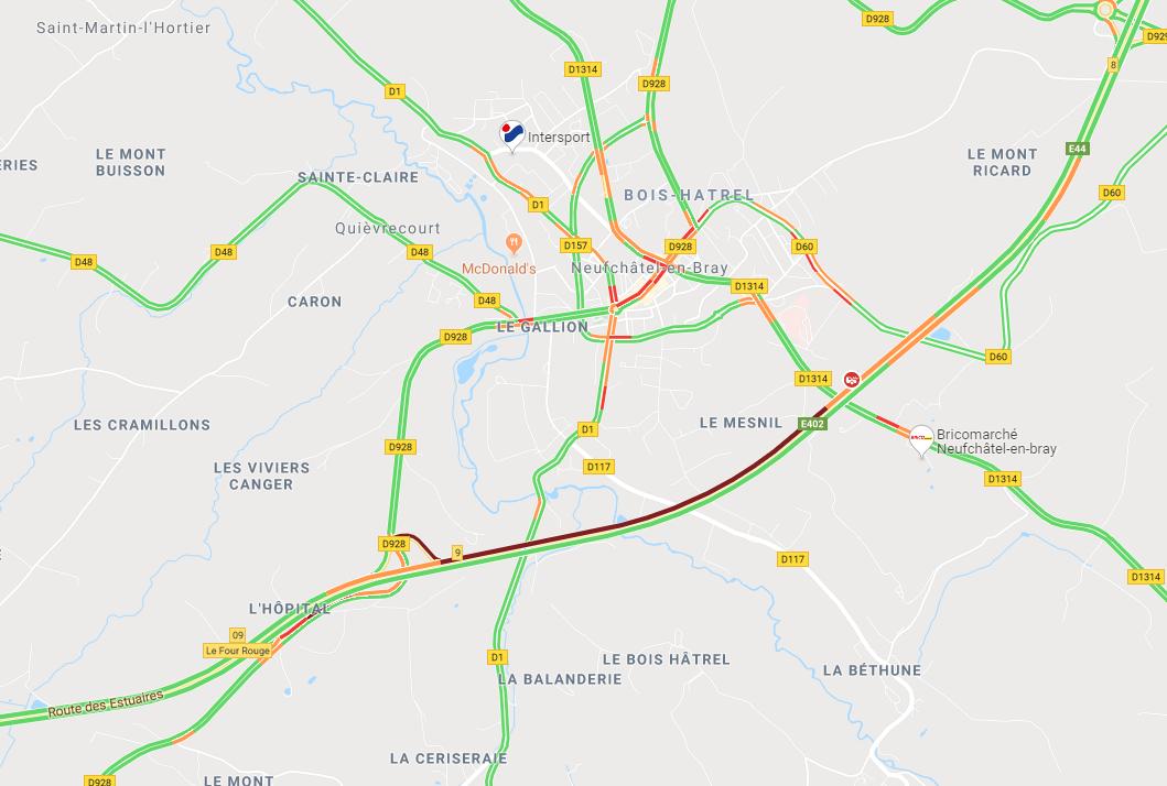 Un camion de 38 tonnes couché sur l'A28 près de Neufchâtel-en-Bray : l'autoroute est coupée vers Rouen