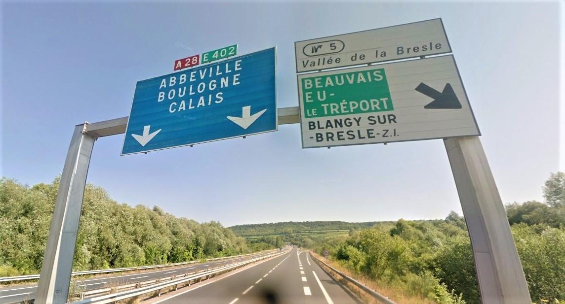 L'autoroute a été déviée en direction d'Abbeville à partir de l'échangeur de la Vallée de la Bresle
