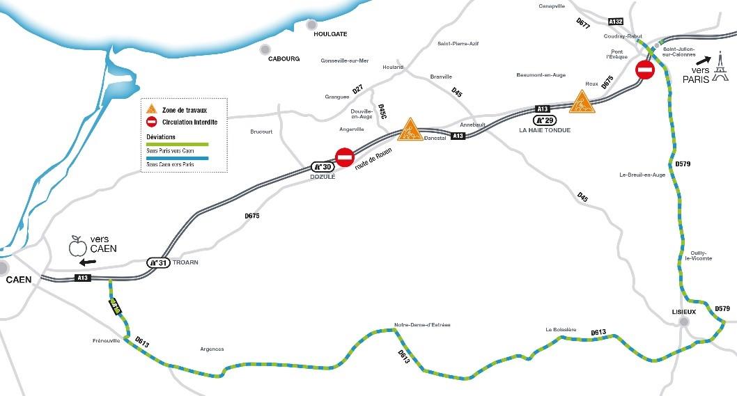 L'A13 fermée deux nuits de suite, du 4 au 6 mars, entre Pont-l'Evêque à Dozulé