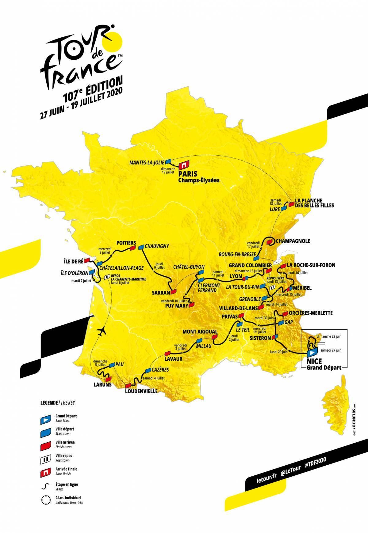 Initialement prévu du 27 juin au 19 juillet, l'épreuve mythique se déroulera sur le parcours prévu, sans changement, de Nice à Paris - Document @ASO