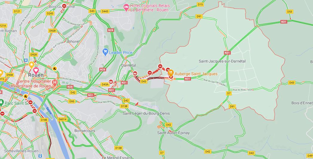 La citerne se décroche du tracteur : la N31 fermée dans les deux sens près de Rouen