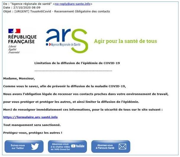 L'Agence régionale de santé (ARS) met en garde contre une campagne frauduleuse par mails