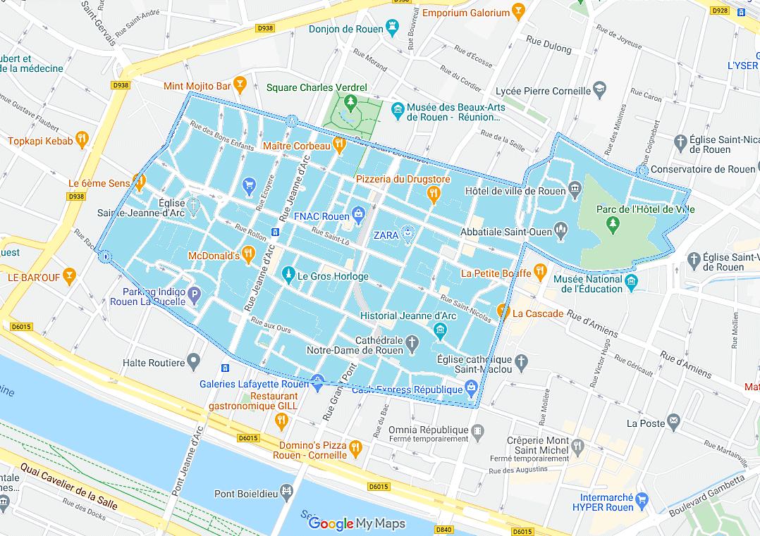 Le périmètre d'interdiction est délimité par la rue Jean Lecanuet, incluant la place de l'hôtel de ville (place du général de Gaulle), la rue de la République, la rue de Fontenelle, la rue Racine, la rue du général Giraud et enfin la rue du général Leclerc. Cliquer sur le plan pour le visualiser