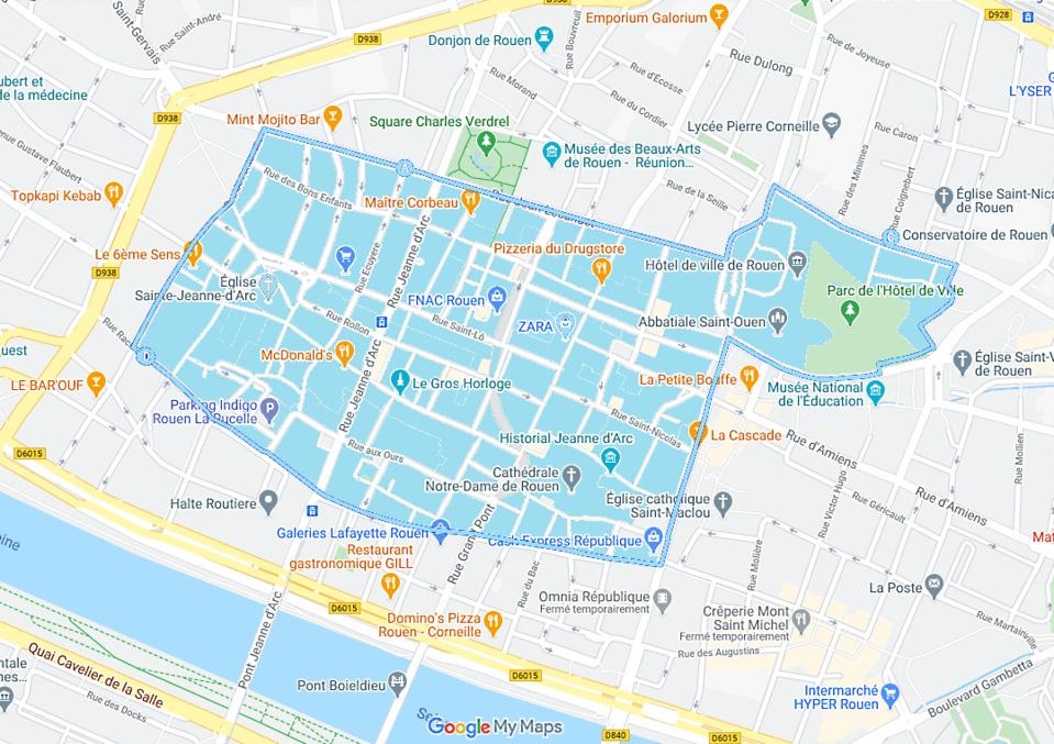 Le périmètre d'interdiction de manifestation est délimité par la rue Jean Lecanuet, incluant la place de l'hôtel de ville (place du général De Gaulle), la rue de Fontenelle, la rue Racine, la rue du général Giraud, la rue du général Leclerc et enfin, a l'est, la rue de la République.