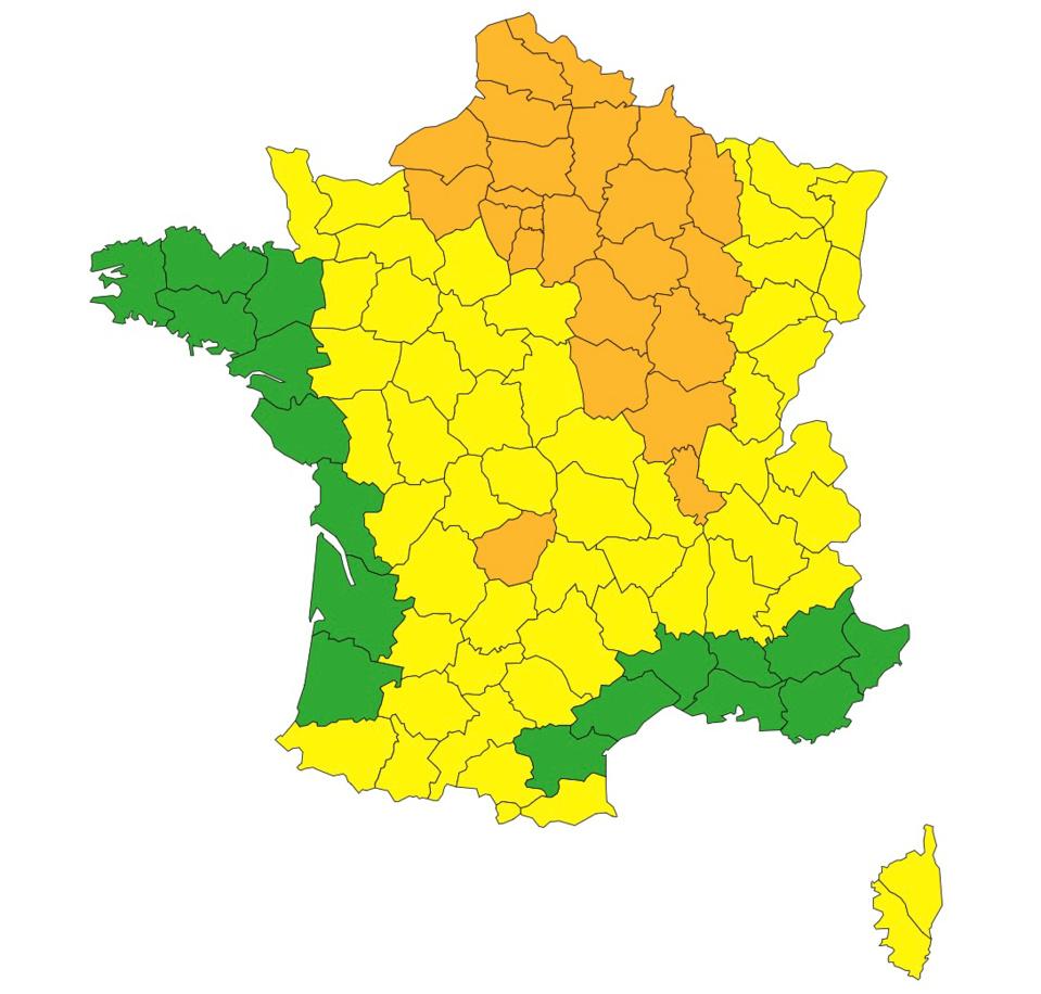 26 départements en orange 53 départements en jaune