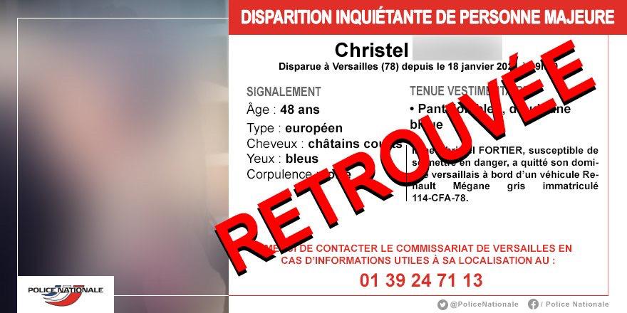 Christel a été retrouvée annonce la Police sur son compte Twitter