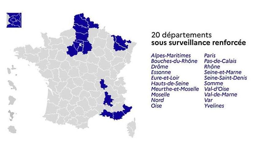 Coronavirus : 20 départements placés sous surveillance renforcée, dont ceux d'Île-de-France
