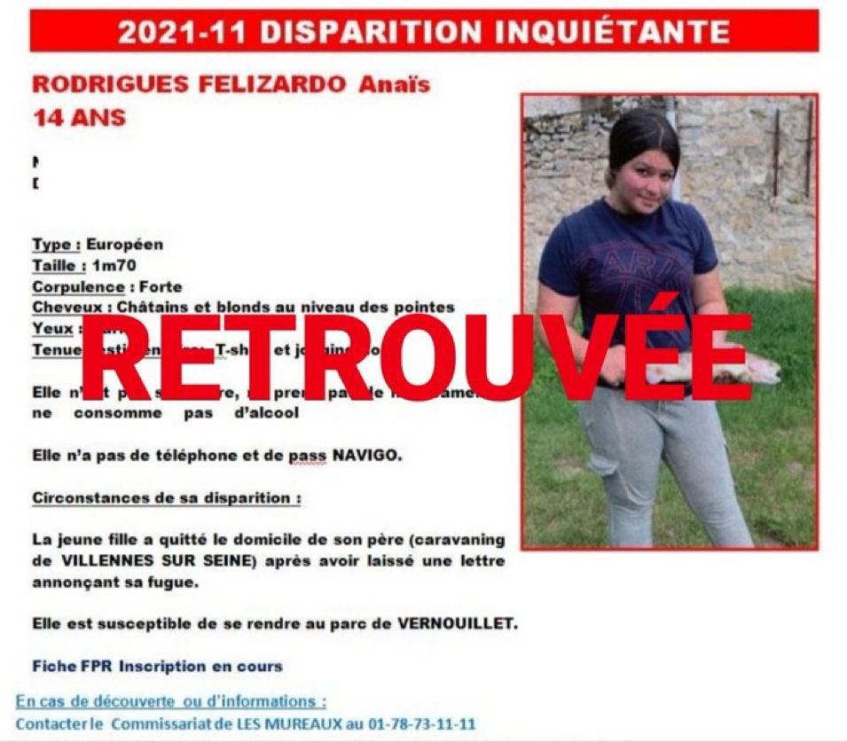 Disparition inquiétante d'Anaïs, 14 ans, dans les Yvelines : la jeune fille a été retrouvée