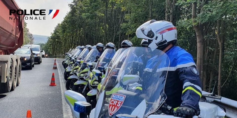 Des motards de la CRS zonale sont en renfort pour une dizaine de jours en Seine-Maritime - Photo @ DDSP76