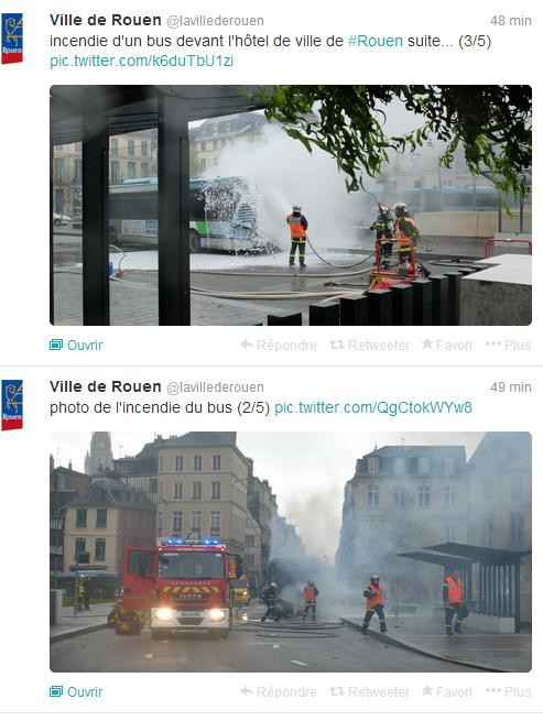 Un bus s'enflamme devant l'Hôtel de ville de Rouen