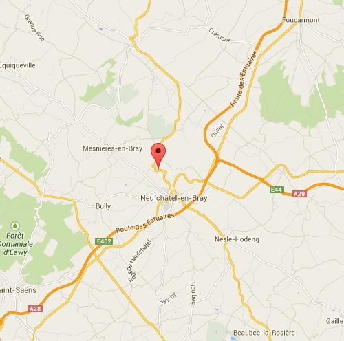 Le radar est implanté dans les virages du Mont d'Aulage à Saint Martin l'Hortier peu avant d'arriver à Neufchâtel-en-Bray