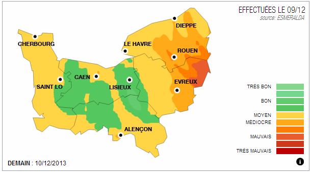 Alerte à la pollution de l'air pour mardi en Haute-Normandie
