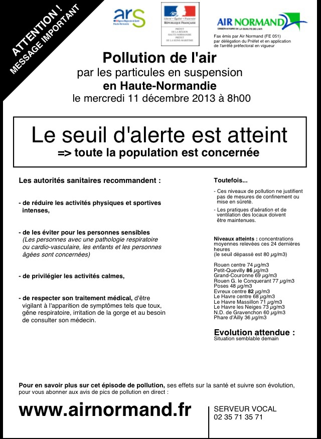 Le message d'alerte publié par l'association Air Normand