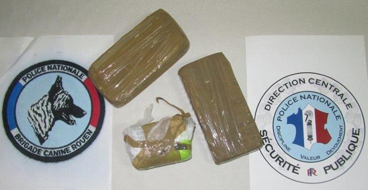 Les deux pains d'héroïne d'un demi kilo chacun saisis au domicile du Cléonnais étaient conditionnés pour être revendus  (Photo @DDSP)