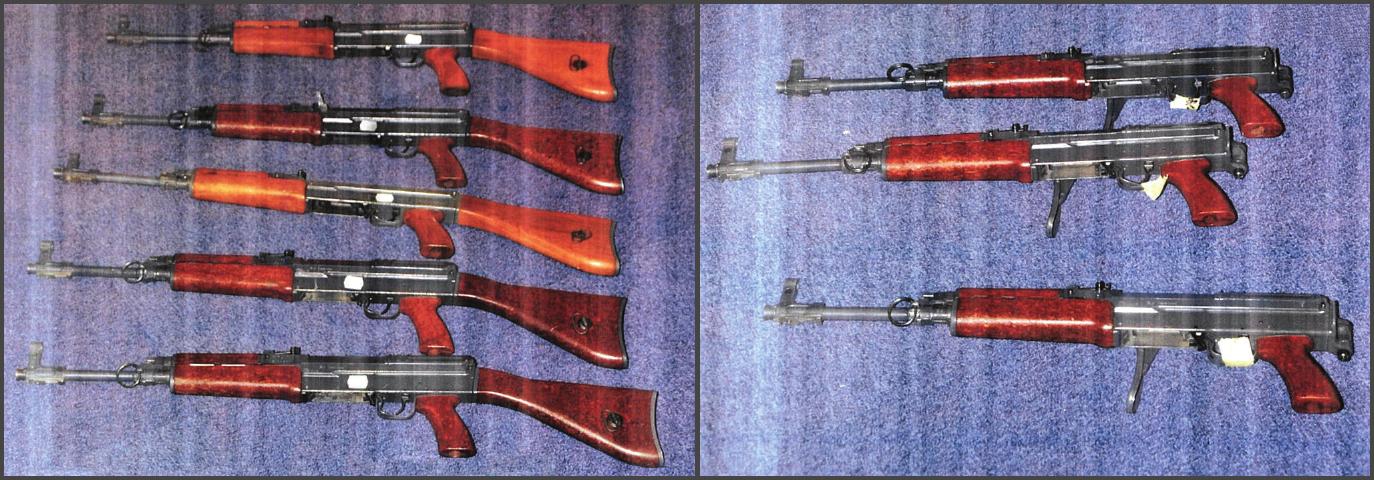 Les huit Kalachnihkov qui ont d'abord été découvertes incidemment à Val de Reuil et qui ont permis au SRPJ de remonter jusqu'à leur destinataire, près de Rouen