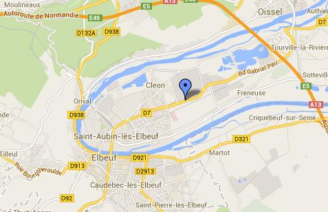 L'accident s'est produit rue de Tourville, dans une ligne droite, devant l'usine Renault de Cléon (@Google Maps)