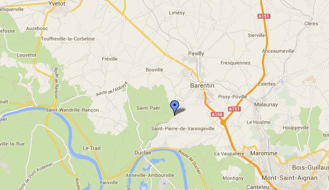 La collision s'est produite sur la D143, dite route de l'Austreberthe. Il s'agit d'une route sinueuse et où la visibilité n'est pas très bonne (@Google Maps)