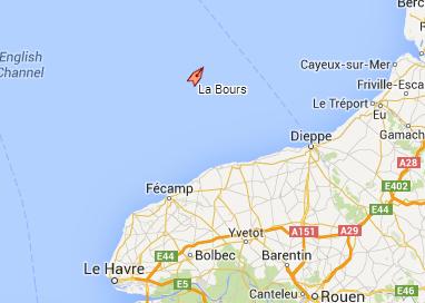 Le chalutier La Bours se trouvait au large de Fécamp au moment de l'incident et faisait route vers le nord-est