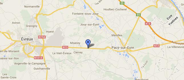 La collision s'est produite dans une ligne droite à hauteur de Boncourt (@Google Maps)