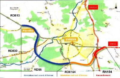 """La déviation sud-ouest (partie en bleu) est fortement contestée par l'association """"Evreux Nature Environnement"""""""