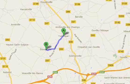 La collision s'est produite sur le CD37 entre Yvecrique et Etoutteville  (@Google Maps)
