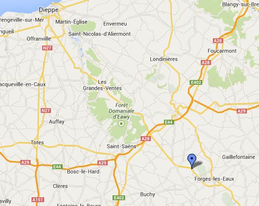 Le drame est survenu sur le CD915, particulièremernt réputé pour être dangereux entre Dieppe et Forges-les-Eaux (@Google Maps)