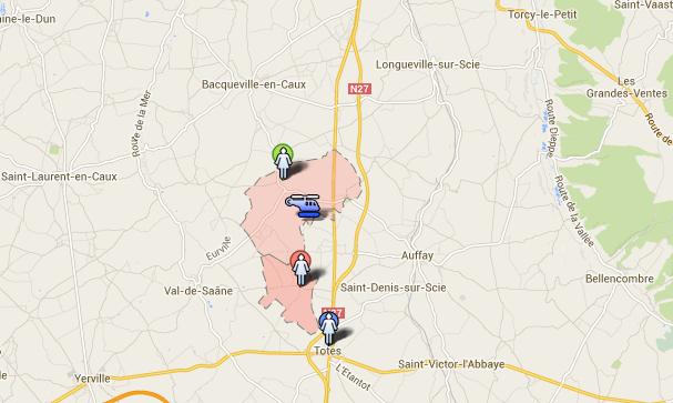 L'hélicoptère de la gendarmerie a survolé ce samedi entre 11 h et 13 h les communes de Beauval-en-Caux et de Calleville-les-Deux-Eglises (zone en rose) au nord de Tôtes