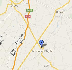 La collsion s'est produite dans un virage sur la D819 à la sortie de Monreuil-l'Argillé @Google Maps